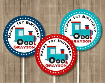 Custom Train Cupcake Toppers Customized Printable Choo Choo Train Party Circles, Cupcake Toppers - 2 inch Circles 1092