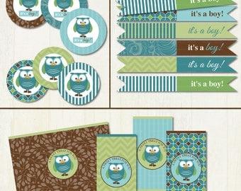 It's a Boy Mod Owl Baby Shower Printable Party Set DIY