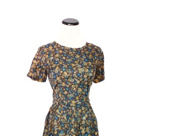 Vintage 1940s Short Blue and Mustard Floral Mad Men Day Dress / 40s Dress / fourties Dresses / Dress / Dresses / 1454