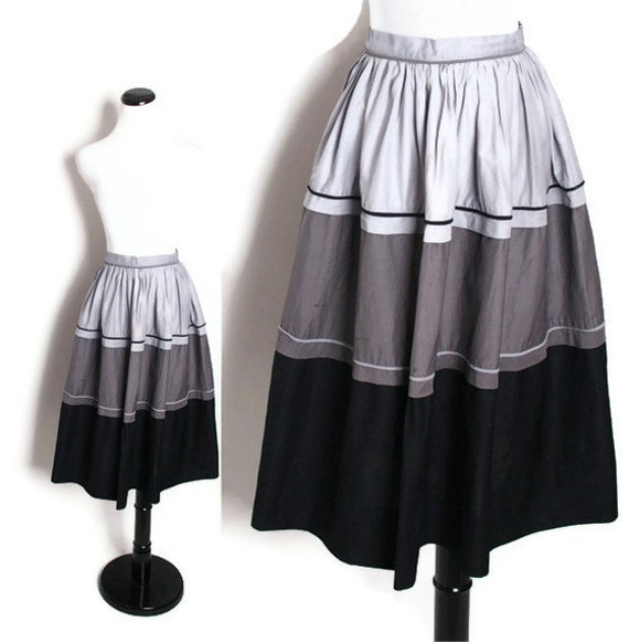 Ombre 1950s Skirt / Skirt / Skirts / Grey / Gray / Tricolor / Tricolour / Tri Color / Tri Colour / Cotton Skirt / Mad Men / 1169