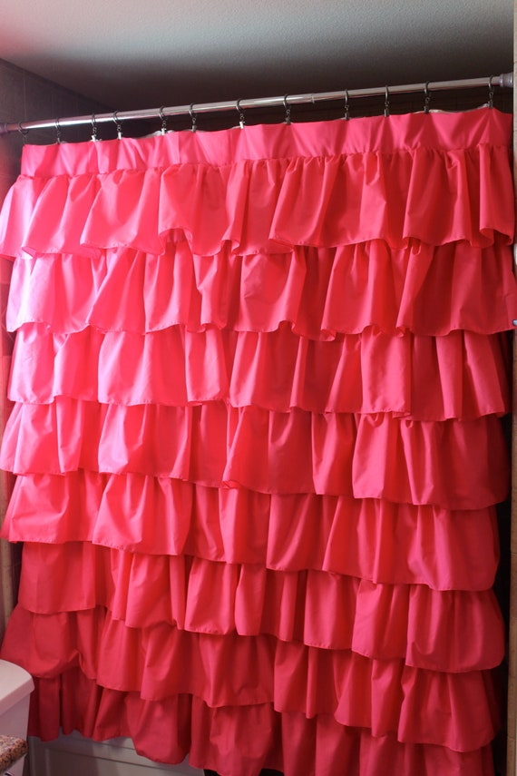 ready to ship hot pink ruffled shower curtain or window panel