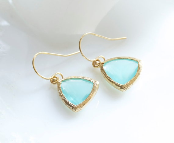 Mint glass stone and gold dangle triangle shape earrings. French wires. Everyday. Bridal. Minimal and Simple.