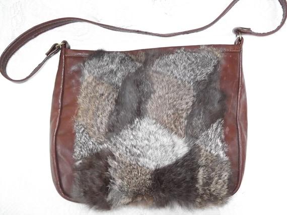 Vintage 1970s Purse Shoulder Bag Genuine Leather Rabbit Fur Hippie