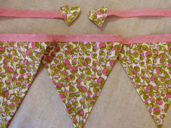 Liberty of London bunting banner : pink & green rosebud fabric Over 8 ft long (excl. ties) with 12 flags READY TO SHIP