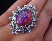 Lycoris No.2-- Dragon's breath large opal glass stone antique silver brass adjustable ring