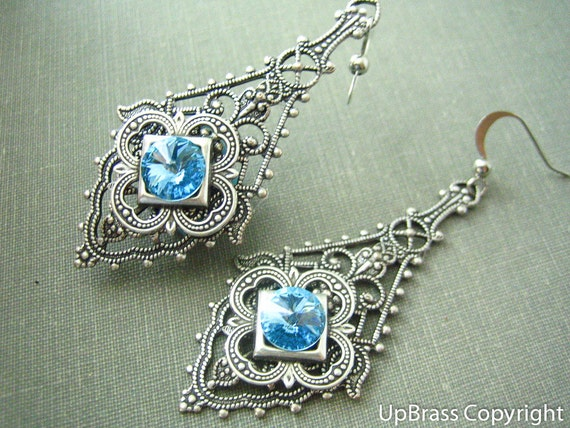 Minerva --  Swarovski aqua crystal antique sterling silver brass filigree dangle earrings
