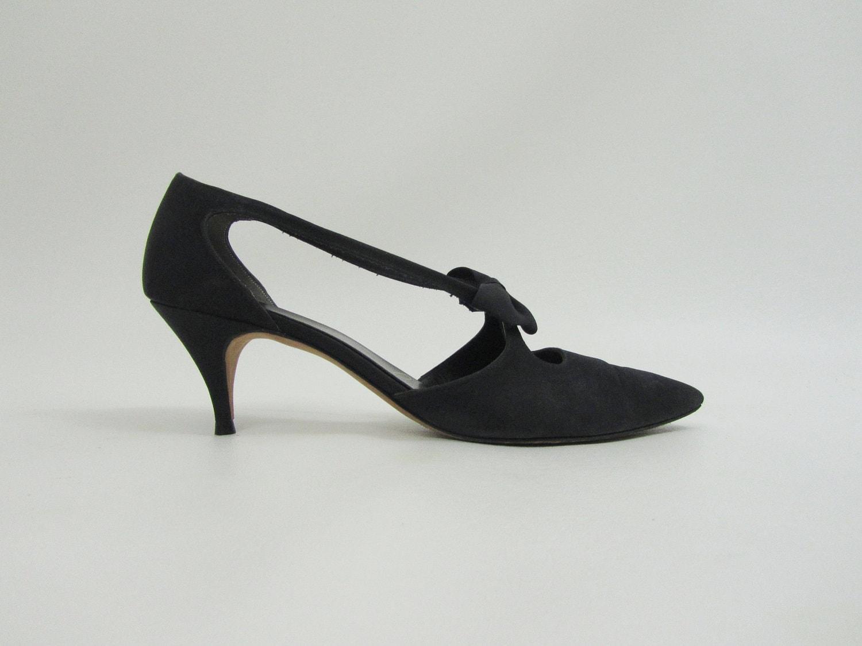 Vintage 1950s dress shoes bow tie kitten heels by 4birdsvintage