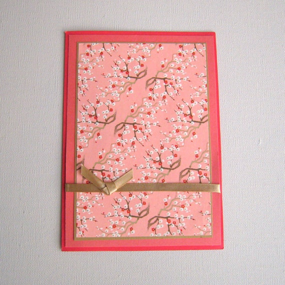 Birthday Card Easter Card or All Occasion Card With Floral Cherry Blossoms Japanese Washi Paper Blank Card All Occasion