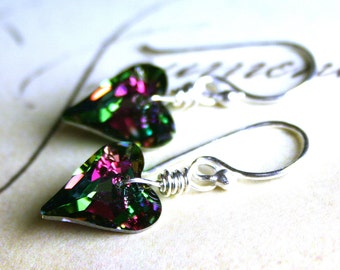 Wild Heart Swarovski Crystal Earrings in Pink and Green - Electra - Handmade with Sterling Silver and Swarovski Crystal