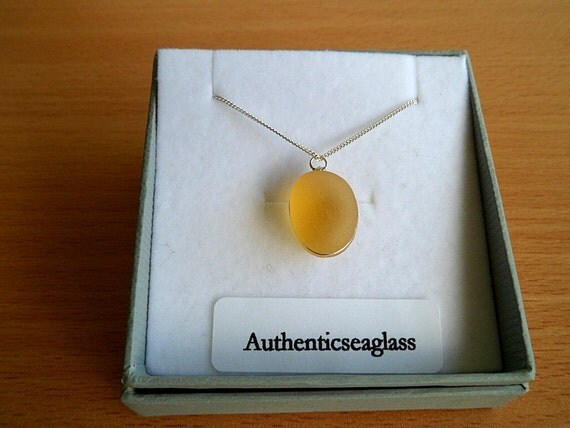 Ex Rare Victorian English seaglass pendant in stunning Amber dainty but powerfull a real head turner
