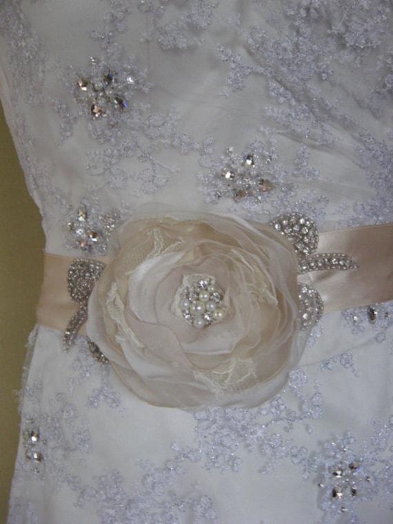 "Vintage inspired Bridal sash shabby chic Champagne ivory nude creamy rhinestone oversize 4.5"" flower romantic ribbon wedding accessory"