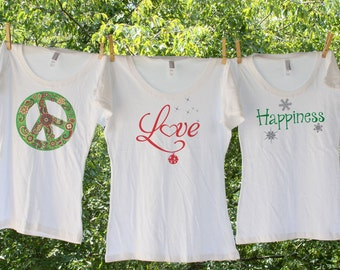 Peace, Love, and Happiness Christmas Shirts - set of 3