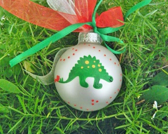 Dinosaur Ornament - Personalized for Birthday or Christmas - Dinosaur Birthday Party - Hand Painted Keepsake Ornament, Christmas Bauble