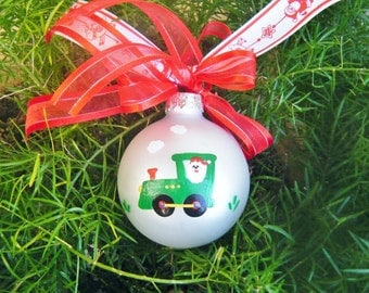 Santa Train Ornament - Baby's First Christmas Ornament, Personalized Hand Painted Keepsake Ornament, Santa Clause Ornament, Christmas Bauble