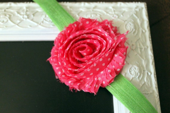 Watermelon Bloom Headband Custom Order Choose Your Size Baby Girl Hair Accessory Little Girl Hair Accessory Shabby Flower Headband