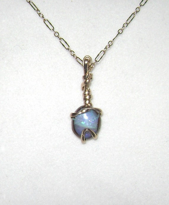 Wire Wrapped 3ct Solid Boulder Opal Neckalce & Pendant