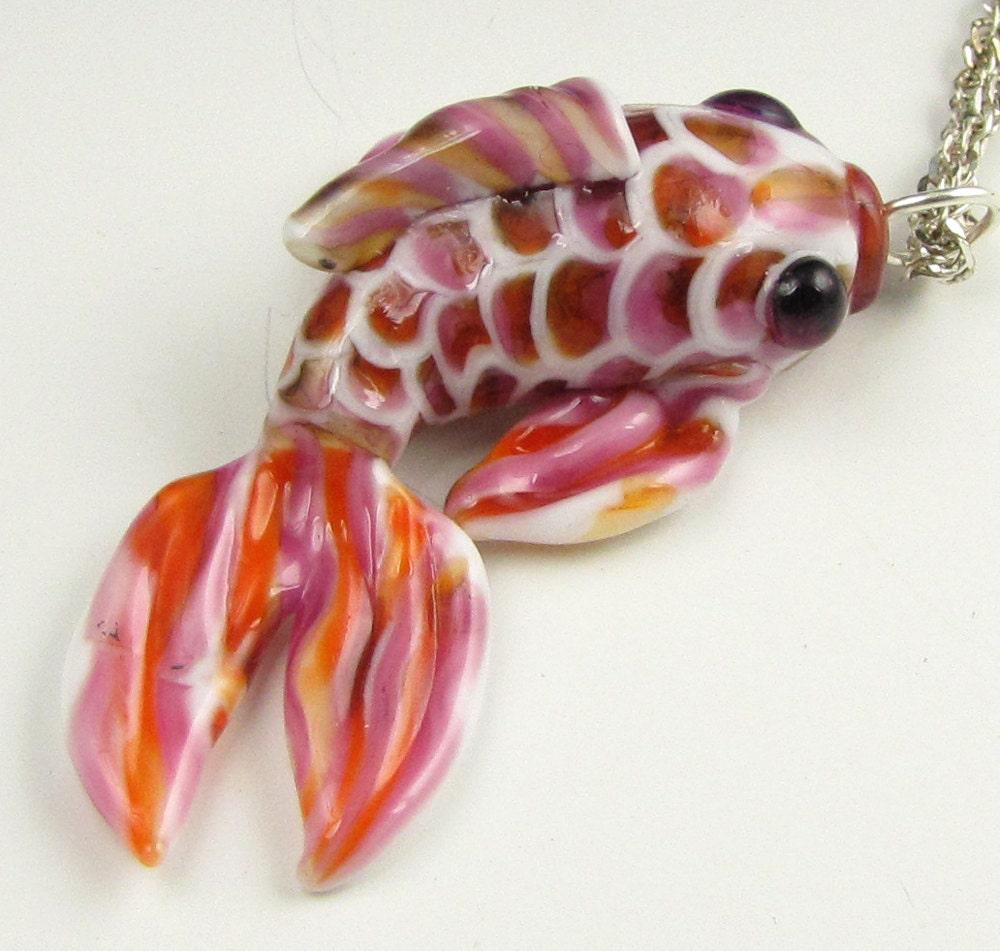 Japanese koi fish pendant pink orange lampwork glass carp for Orange koi fish meaning