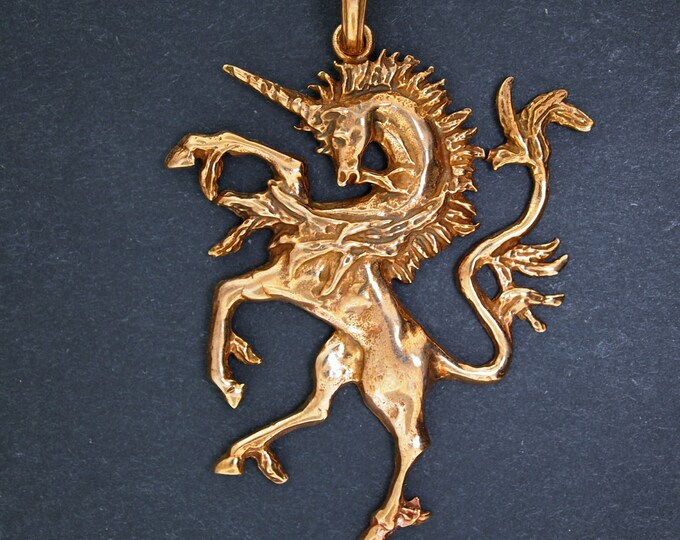 Renaissance Unicorn Pendant in Antique Bronze