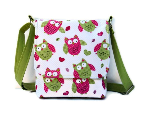Small Hip Bag Messenger Style Purse Owl Purse - Pink and Green