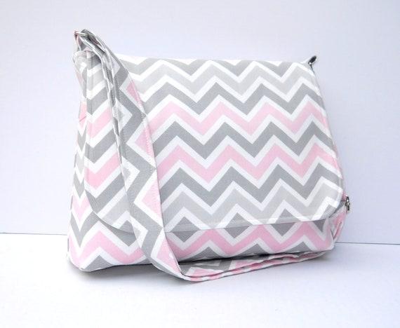 Chevron Purse Fabric Messenger Bag - Grey and Pink Zig Zag