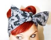 Vintage Inspired Head Scarf, Sparkle Bats, Rockabilly, psychobilly, retro, vintage inspired