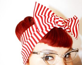 Vintage Inspired Head Scarf, Bow or Bandanna Style, Red and White Stripes, Carnival, Retro