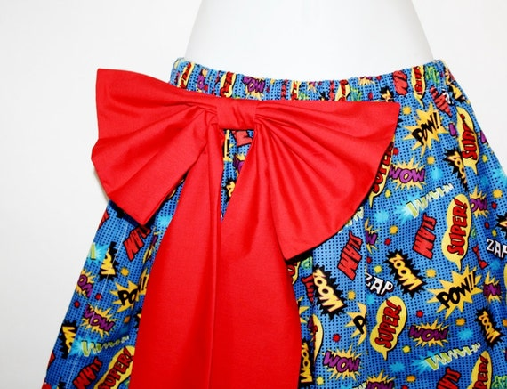 Skirt, Gathered, Large Detachable Bow, Comic Wham Zoom Pow