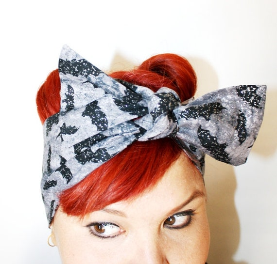 Vintage Inspired Head Scarf, Sparkle Bats, Rockabilly, psychobilly, retro, vintage inspired