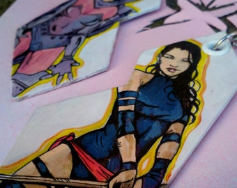 Psylocke - Through the Ages - X-Men hand-painted earrings