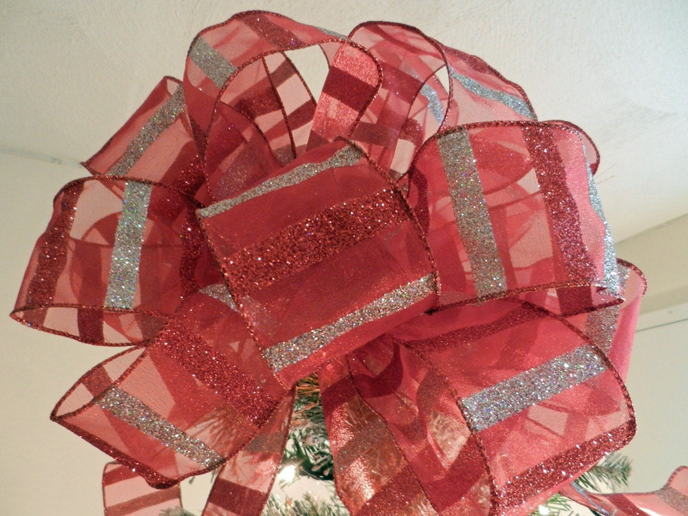 Large Christmas Tree Topper Bow Sheer Red Ribbon With Glitter