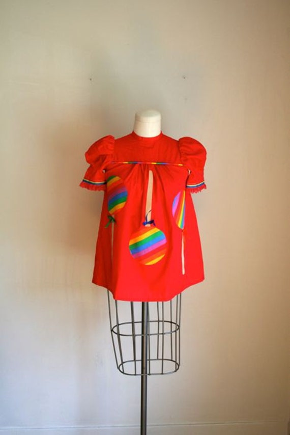 SALE // vintage novelty blouse - LOLLIPOP applique babydoll top / XS