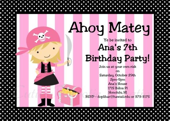 pirate birthday invitation printable or printed boy girl, Birthday invitations
