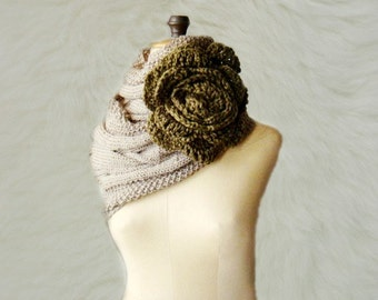 Cowl Knitting Pattern Mocha Cabled Infinity Loop Circle Scarf with crocheted flower