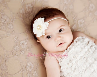 Ivory Flower Baby Headband, with 2 Day Priority shipping