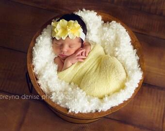 yellow baby headband, newborn headbands, small flower headband, infant headband,  photo prop