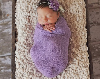 baby headband, baptism headband, veil, newborn headband, small flower headband, lavender, purple