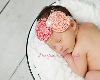 coral baby headband, newborn headband, infant headband, flower girl hair accessories