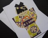 Kawaii Paper Doll Greeting Card - Lime Cutie