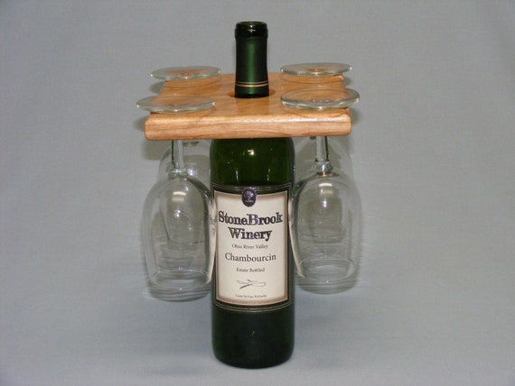 Four Glass and Wine Bottle Display.  Happy New Year!  Cherry. Free Shipping