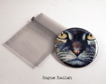 Cat Pocket Mirror - Cat Compact Pocket Mirror - Small Glass Mirror - Cat Lovers Gift -Feline Mirror