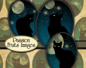 Black Cats on Midnight Blue Skies Halloween 30x40 Digital Collage Sheet-- Instant Download