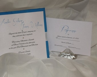 Silver and Blue Wedding Invitation - Padded Wedding Invitation -- Couture Invitation