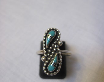 Vintage  sterling turquoise and jet ring
