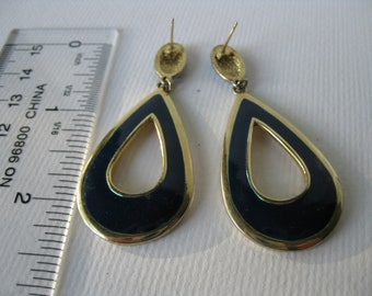 Vintage Navy and Gold Long Dangle Stud Earrings