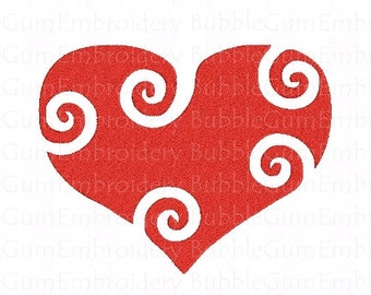 Curly Hearts Embroidery Designs Instant Download