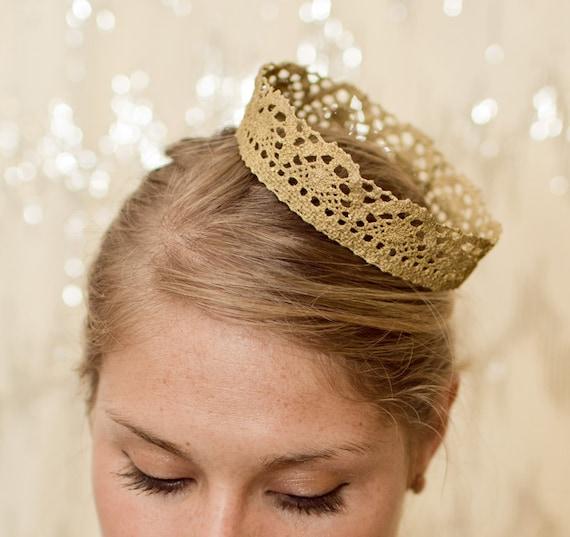 Golden Princess Fairytale Lace Crown