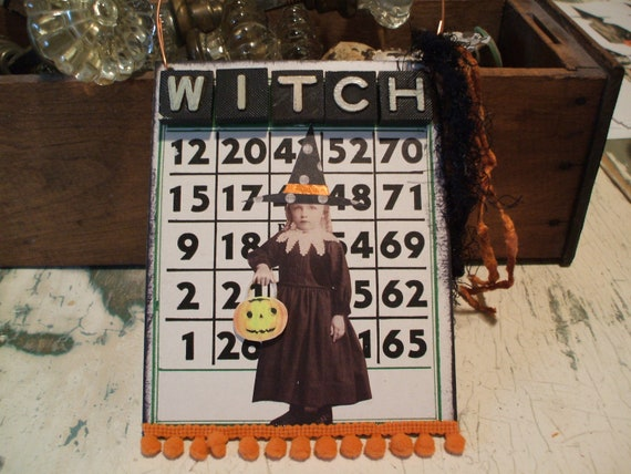 HALLOWEEN WITCH Altered Bingo Card Altered Art Assemblage