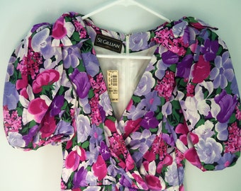 80s ST. GILLIAN SILKS--Floral Silk Cocktail Dress--Purples and Hot Pinks--Unworn With Tag--Filene's--Shoulder Bows--Size 2/3