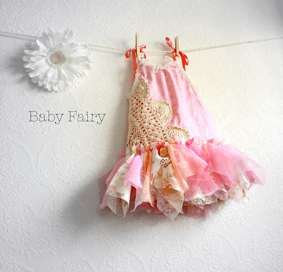 Shabby Chic Fairy Dress 12 Months Pink Sundress Eco Friendly Flower Girl Children's Clothing Baby Clothes First Birthday 12m 'AMELIA'