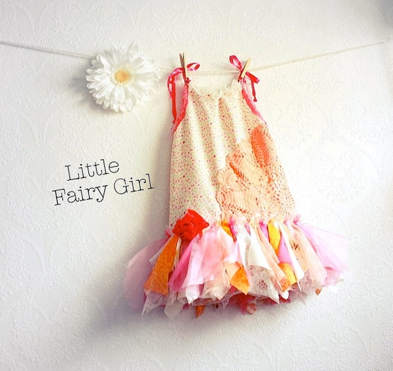 Toddler Fairy Dress 4T Shabby Chic Children's Clothing Pink Floral Print Peach Sundress Flower Girl Party Dress Kid's Clothes 'LAUREL'
